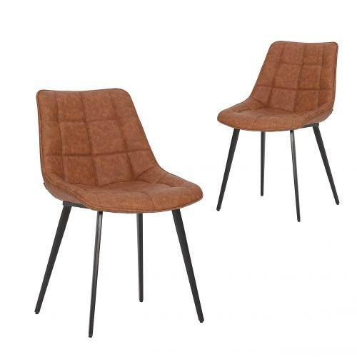 Simplife Set of 2 Lada Tan Faux Leather Dining Chairs