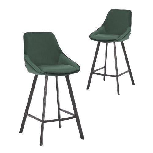 Simplife Set of 2-67cm Nemo High Back Green Velvet Kitchen stool