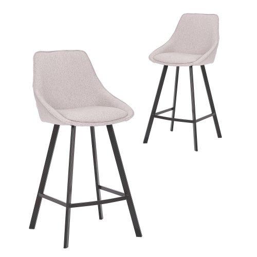 Simplife Set of 2-67cm Nemo light grey stain resistant waterproof fabric High Back Kitchen stool