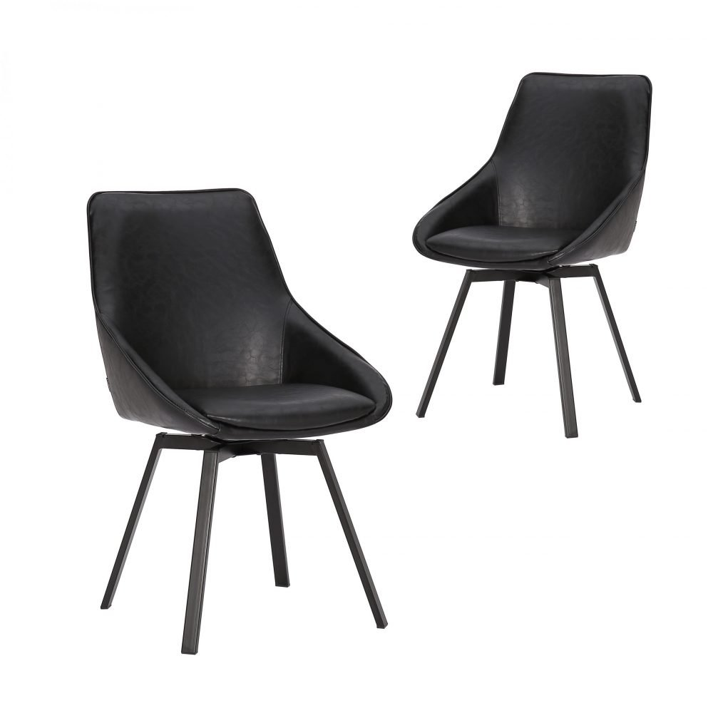 Simplife Set of 2 Nemo Swivel Vintage Black Faux Leather Dining Chair