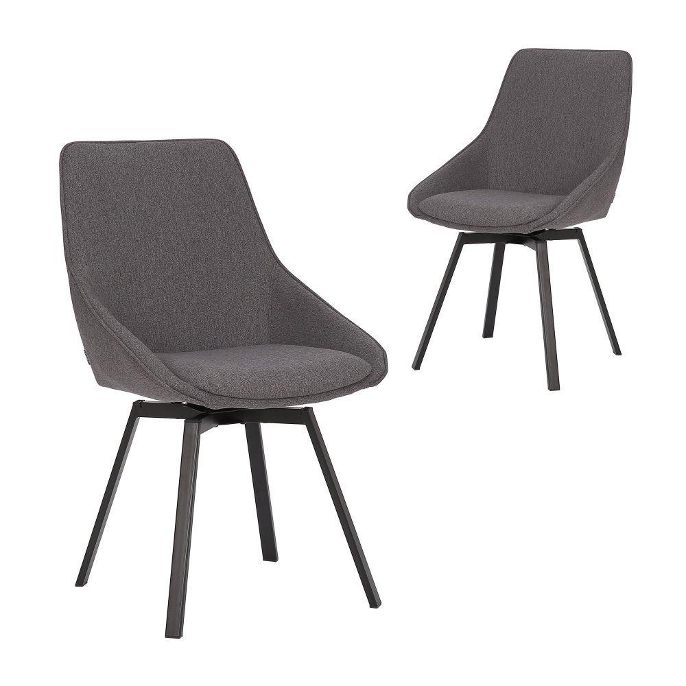 Simplife Set of 2 Nemo Swivel Dark Grey stain resistant waterproof Fabric Dining Chair