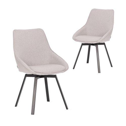 Simplife Set of 2 Nemo Swivel Light Grey stain resistant waterproof Fabric Dining Chair