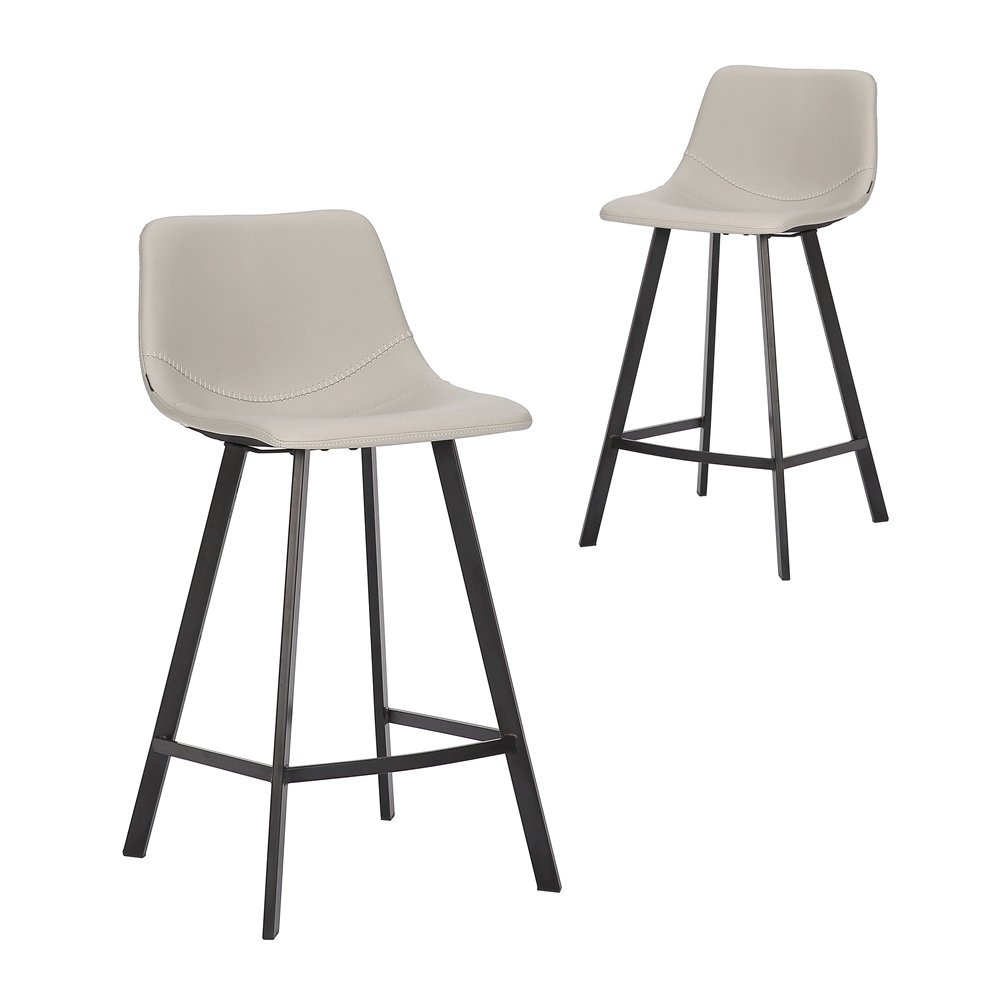 Simplife Set of 2-65cm Orleans Light Grey Faux Leather Kitchen Stool