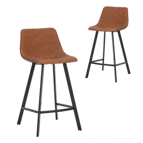 Simplife Set of 2-65cm Orleans Tan Faux Leather Kitchen Stool