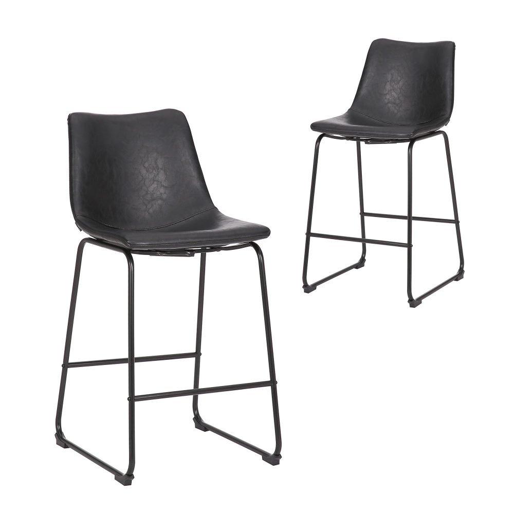 Simplife Set of 2-66cm Prato vintage black Faux Leather Kitchen stool