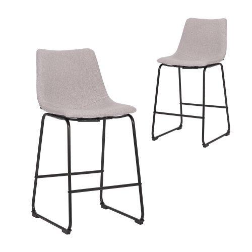 Simplife Set of 2-66cm Prato Light Grey stain resistant waterproof fabric Kitchen stool