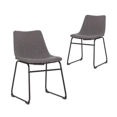 Simplife Set of 2 Prato Dark Grey stain resistant waterproof fabric Dining Chair