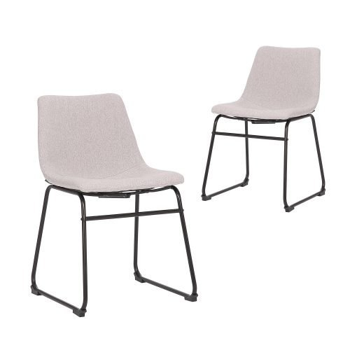 Simplife Set of 2 Prato Light Grey stain resistant waterproof fabric Dining Chair