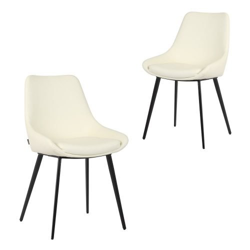 Simplife Set of 2 Daimyo Cream Faux Leather Dining Chair