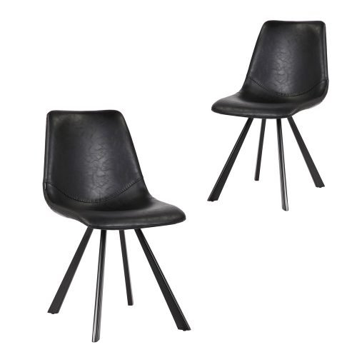 Simplife Set of 2 Orleans Black Faux Leather Dining Chair