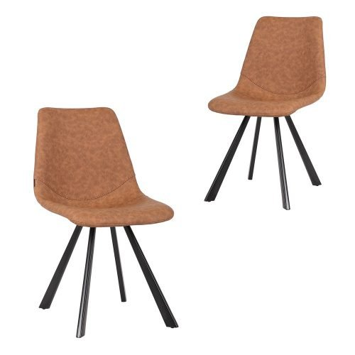 Simplife Set of 2 Orleans Tan Faux Leather Dining Chair