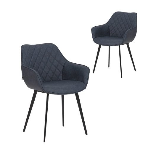 Simplife Set of 2 Aaric Navy Faux Leather Dining Armchairs
