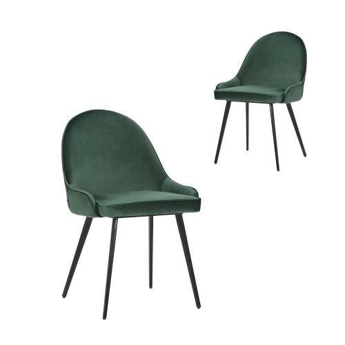 Simplife Set of 2 Dane Green Velvet Dining Chairs
