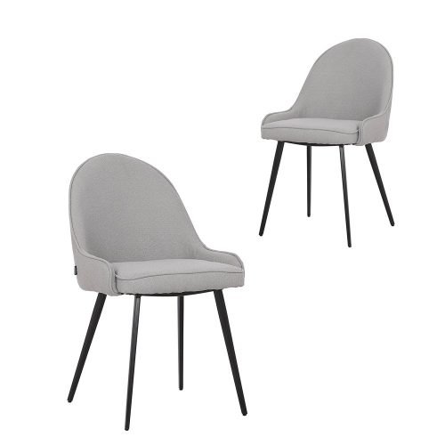 Simplife Set of 2 Dane Grey Boucle fabric Dining Chairs