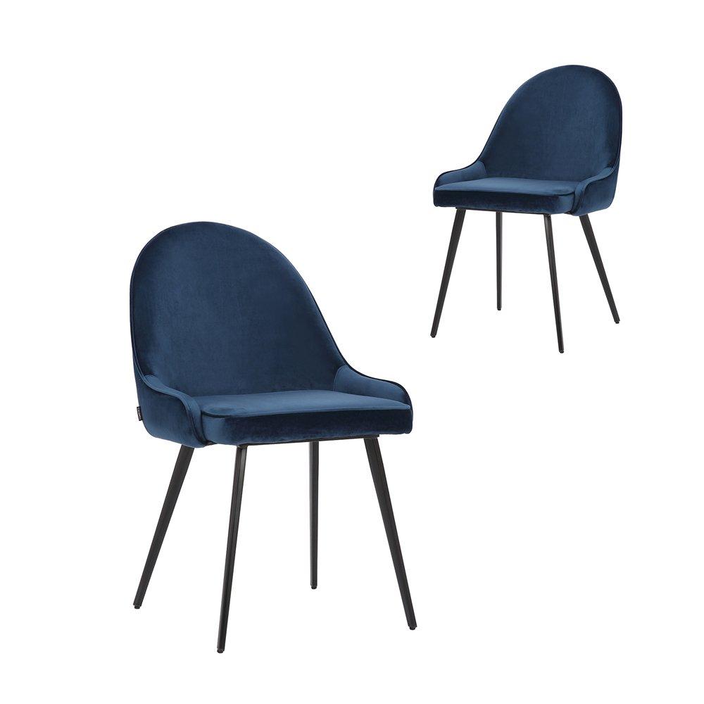 Simplife Set of 2 Dane Navy Velvet Dining Chairs