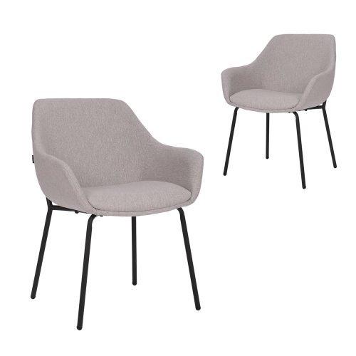 Simplife Set of 2 Etta stain resistant waterproof Light Grey fabric Dining Armchairs