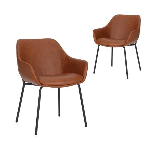 Simplife Set of 2 Etta Tan Faux Leather Dining Armchairs