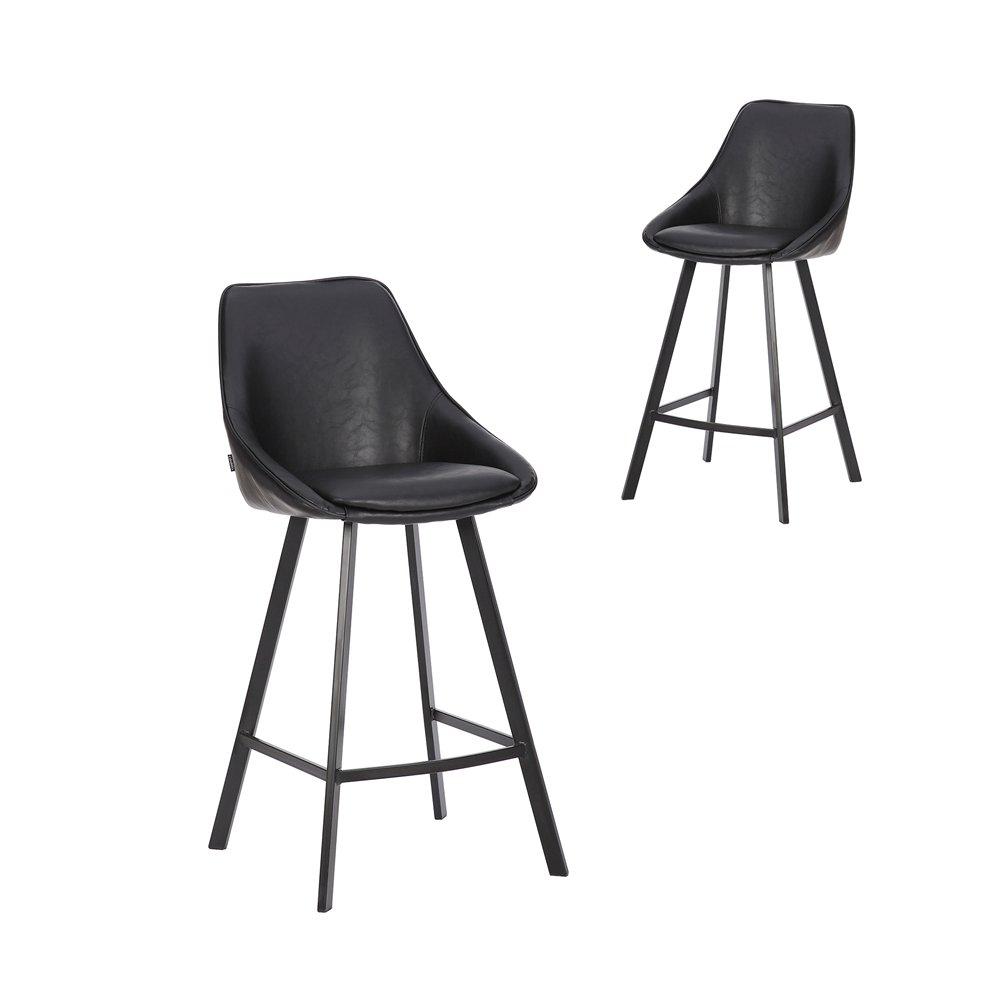 Simplife Set of 2-67cm Nemo High Back Vintage Black Faux Leather Kitchen stools