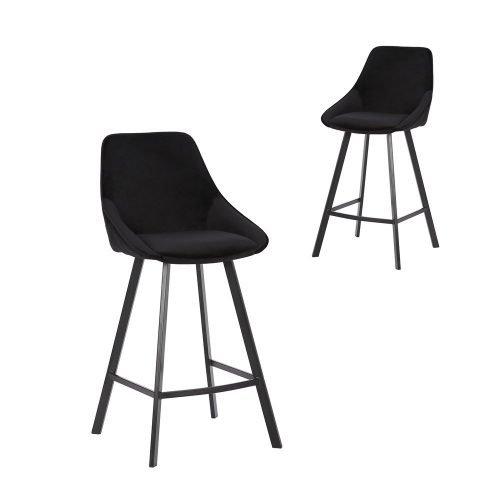 Simplife Set of 2-67cm Nemo High Back Black Velvet Kitchen stools