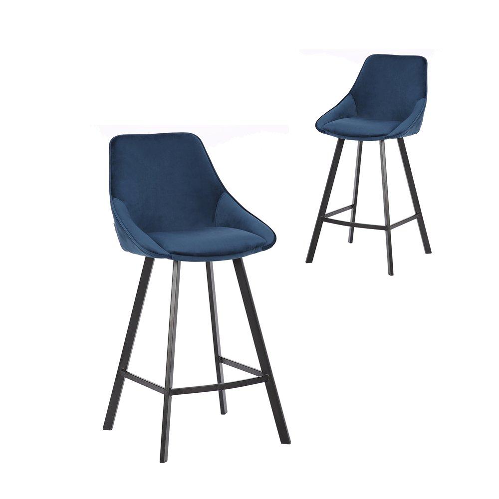 Simplife Set of 2-67cm Nemo High Back Navy Velvet Kitchen stools