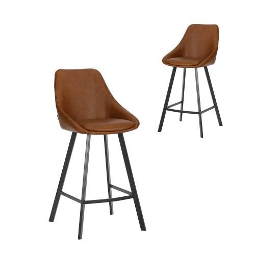 Simplife Set of 2-67cm Nemo High Back Tan Faux Leather Kitchen stools