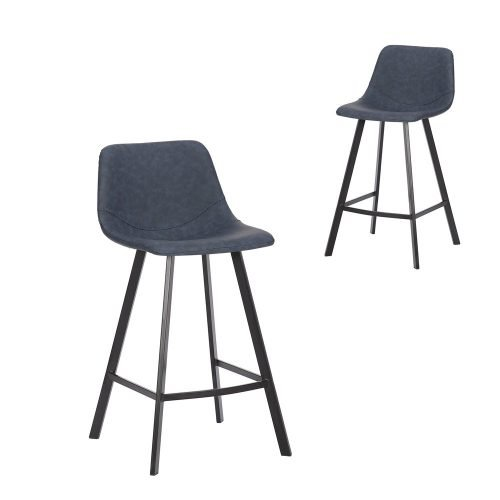 Simplife Set of 2-65cm Orleans Navy Faux Leather Kitchen Stool