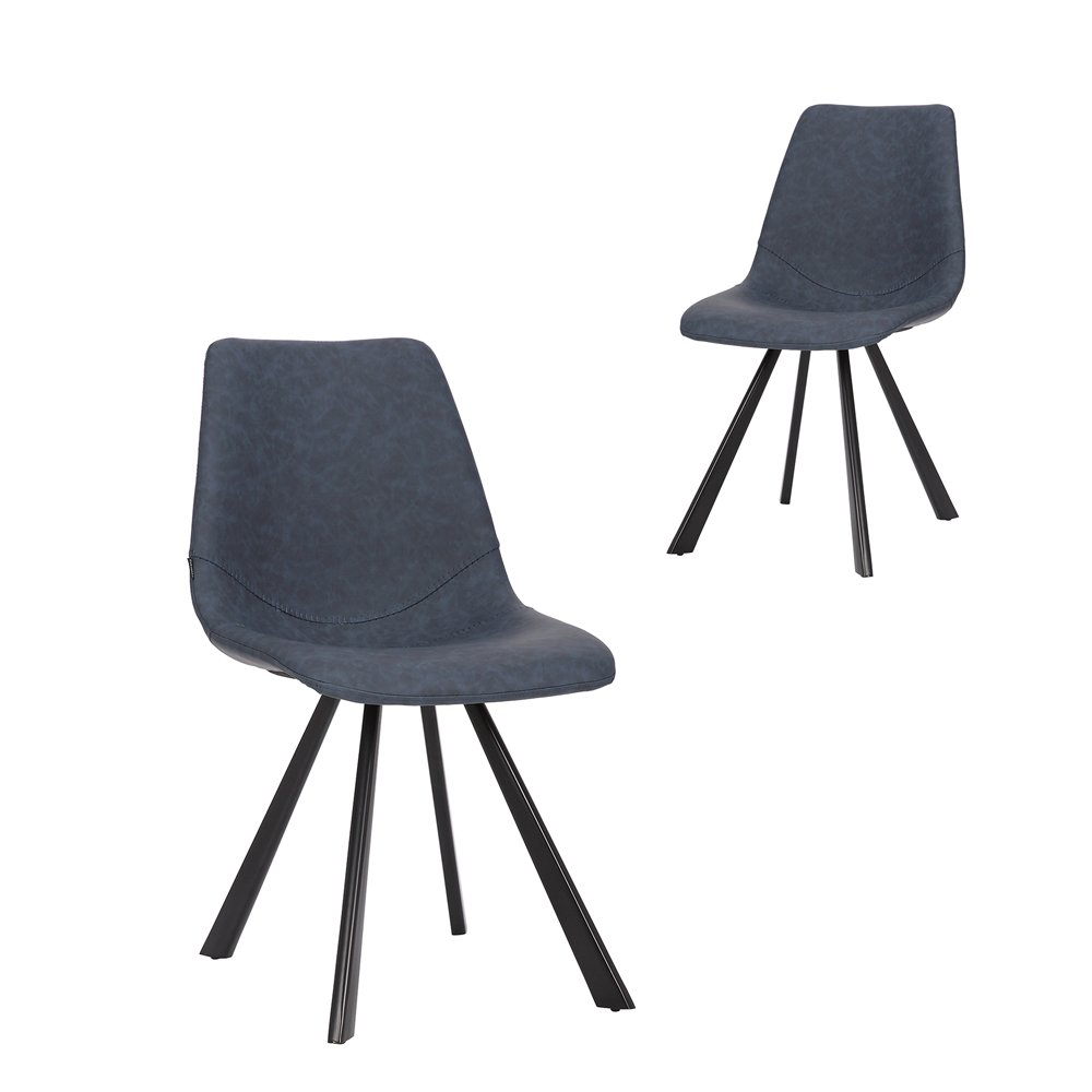 Simplife Set of 2 Orleans Navy Faux Leather Dining Chair