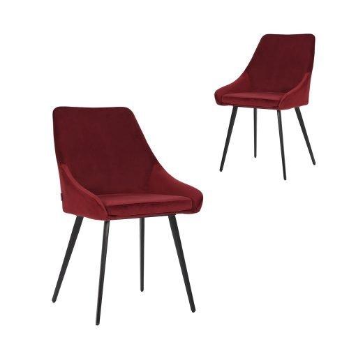 Simplife Set of 2 Shogun Burgundy Velvet Dining Chairs