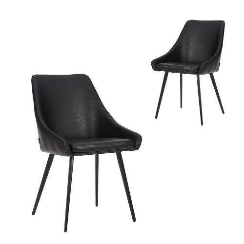 Simplife Set of 2 Shogun Vintage Black Faux Leather Dining Chairs