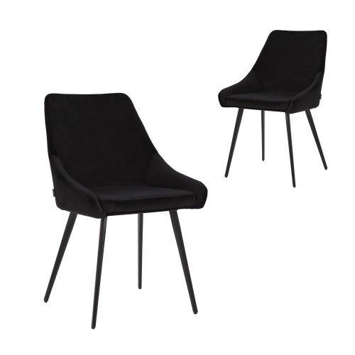 Simplife Set of 2 Shogun Black Velvet Dining Chairs