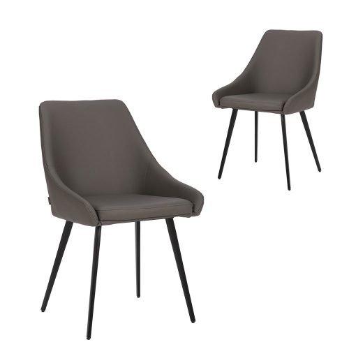 Simplife Set of 2 Shogun Dark Grey Faux Leather Dining Chairs
