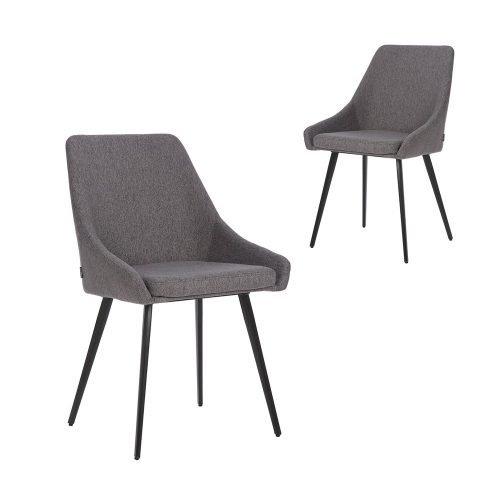 Simplife Set of 2 Shogun stain resistant waterproof Dark Grey fabric Dining Chairs
