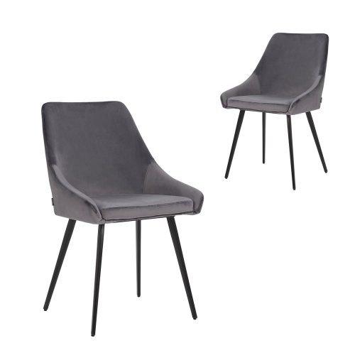 Simplife Set of 2 Shogun Grey Velvet Dining Chairs