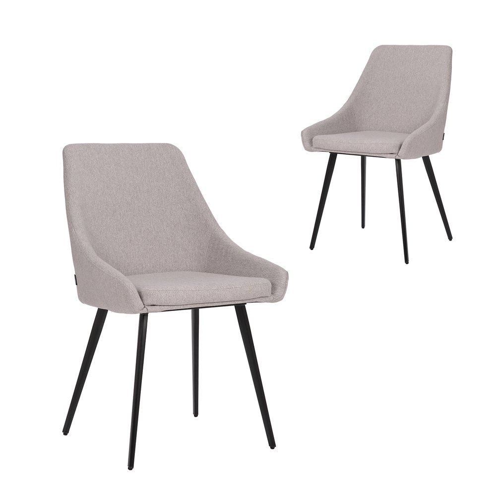 Simplife Set of 2 Shogun Light Grey stain resistant waterproof fabric Dining Chairs