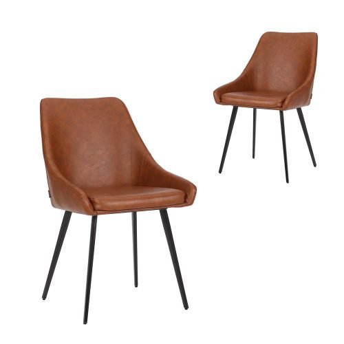 Simplife Set of 2 Shogun Tan Faux Leather Dining Chairs