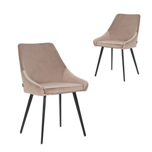 Simplife Set of 2 Shogun Taupe Velvet Dining Chairs