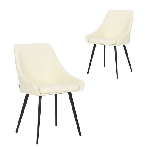 Simplife Set of 2 Shogun Cream Faux Leather Dining Chairs