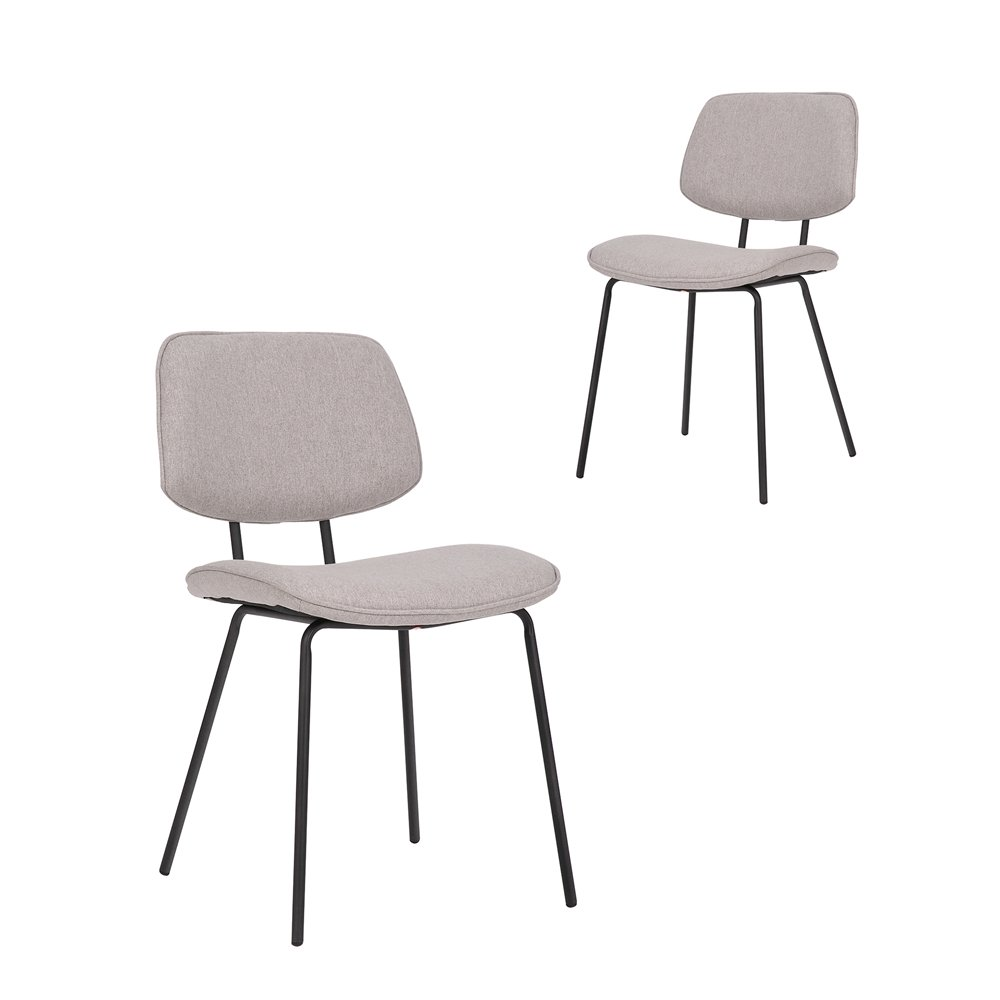 Simplife Set of 2 Tommy stain resistant waterproof Light Grey fabric Dining Chairs