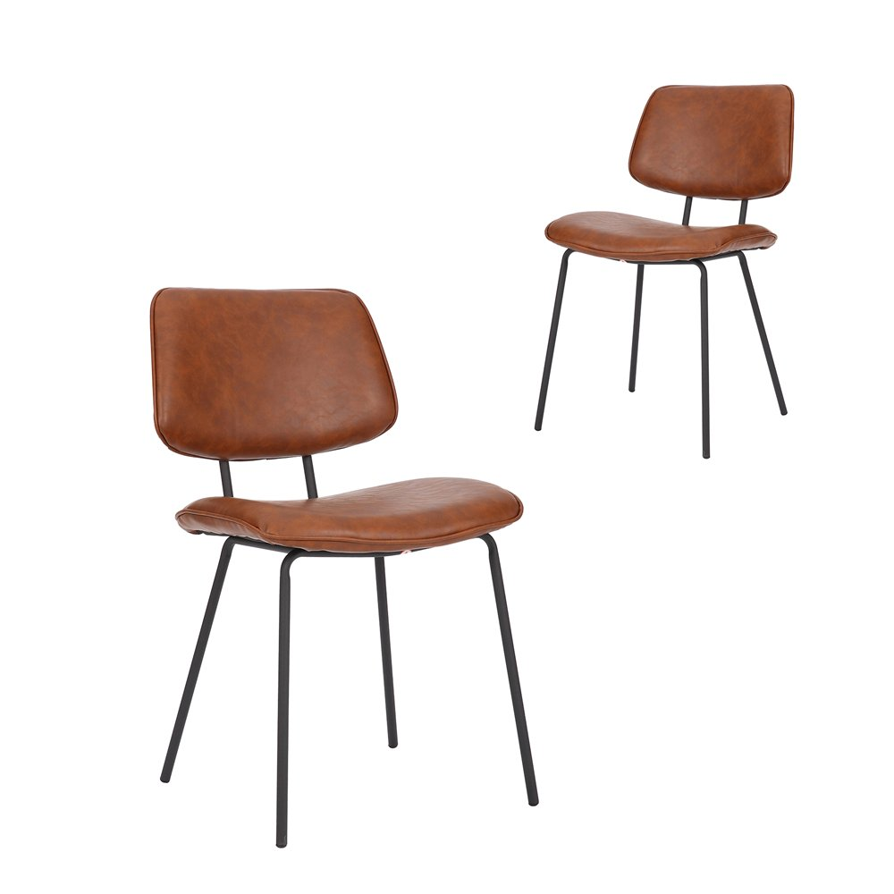 Simplife Set of 2 Tommy Tan Faux leather Dining Chairs