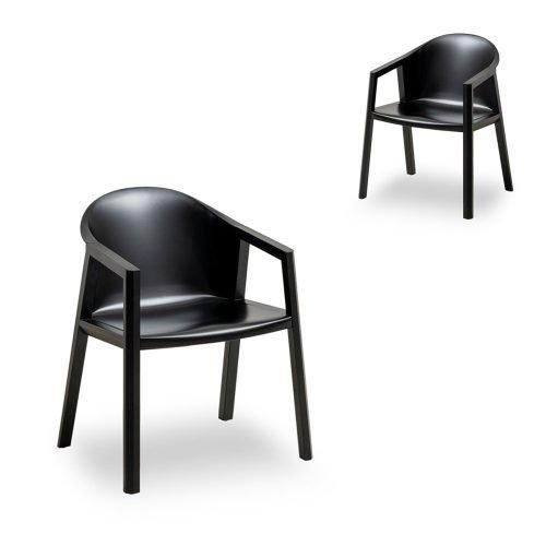 Set of 2 Bernald Black Timber Armchair Black Seat