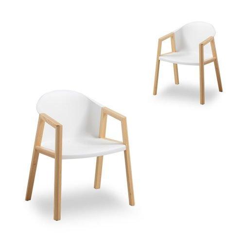 Simplife Set of 2 Bernald Natural Timber Armchair White Seat