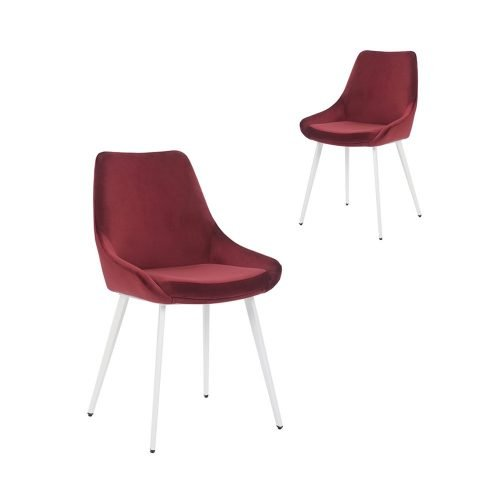Simplife Set of 2 Daimyo Burgundy Velvet Dining Chair white leg