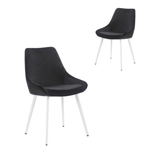 Simplife Set of 2 Daimyo Black Velvet Dining Chair White Leg