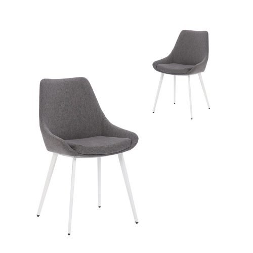 Simplife Set of 2 Daimyo Dark Grey stain resistant waterproof fabric Dining Chair white leg