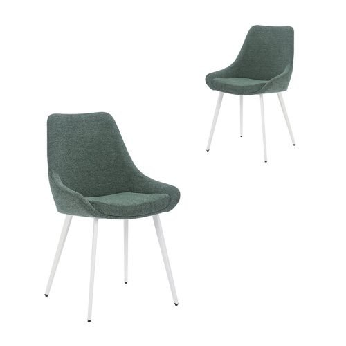 Simplife Set of 2 Daimyo Green stain resistant waterproof fabric Dining Chair white leg