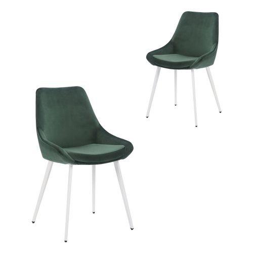 Simplife Set of 2 Daimyo Green Velvet Dining Chair White Leg