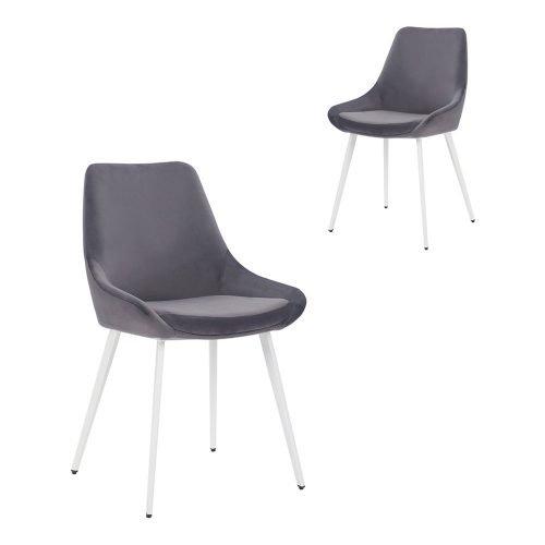 Simplife Set of 2 Daimyo Grey Velvet Dining Chair white leg