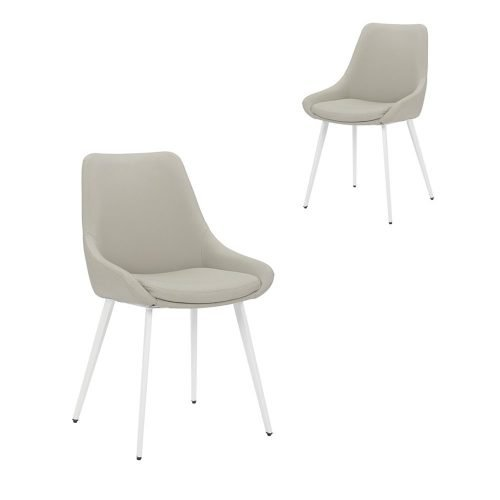 Simplife Set of 2 Daimyo Light Grey Faux Leather Dining Chair white leg