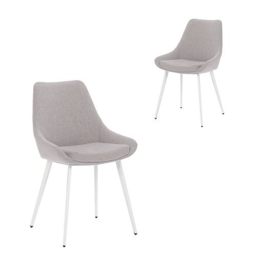 Simplife Set of 2 Daimyo Light Grey stain resistant waterproof fabric Dining Chair white legs