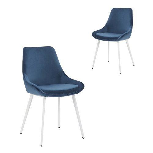 Simplife Set of 2 Daimyo Navy Velvet Dining Chair White Leg